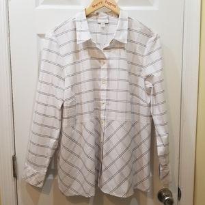 🆕️ NWT J. Jill Plaid Peplum Button Down Shirt